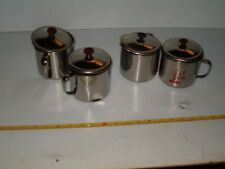 4 BRAND NEW BENT / DENTED STAINLESS STEEL CUPS WITH LIDS,CAMPING EQUIPMENT
