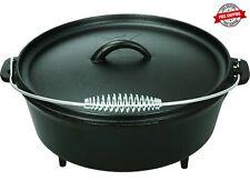 5 quart Dutch Oven Lid Pre Seasoned Cast Iron Pot Bake Fry Stew Top Quality
