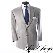 Paul Stuart Made in USA 40% Silk Westgate Navy Sand Herringbone Plaid Jacket 44