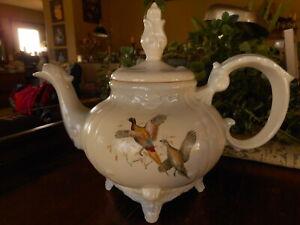 Pheasant Tea Pot Prairie Chicken Marcia of California Pottery Hunting Birds
