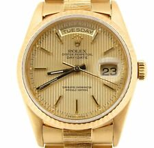 Mens Rolex 18k Yellow Gold Day-Date President Watch BARK Tapestry Dial