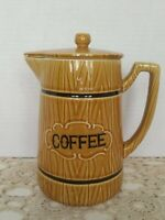 """Vintage Coffee Pitcher Server Royal Sealy w/Lid Ceramic 7"""" Tall. Golden Brown"""