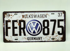 License Plate with Volkswagen Logo Vintage Style