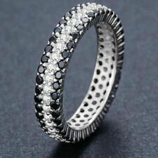 Eternity Band Ring 14K White Gold Over 3 Ct Round Black & White Diamond Wedding