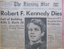 More details for robert f. kennedy dies  funeral in new york burial near jfk eve star june 6 1968