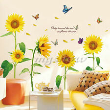 Big Yellow Sun Flowers Butterfly Wall Stickers Vinyl Decal Kids Nursery Decor