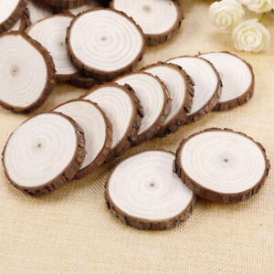 50X Round Shaped Natural Wood Slices Discs Craft Hobbies 8mm Thick DIY