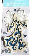 Christmas Angel Gorgeous White Blue Sparkle Lace Jolee's 3D Stickers