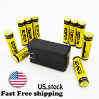 10pcs 9900mAh 18650 3.7V Rechargeable Li-ion Battery Charger Set For Flashlight