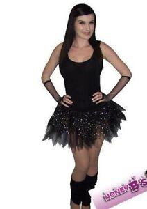 Neon Black Sparkle Tutu Skirt Legwarmer Gloves Gothic 80's Fancy Dress Hen Party