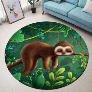 Tropical Jungle Leaves Cute Sloth Round Floor Mat Bedroom Living Room Area Rugs