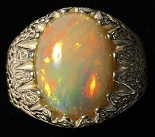 SIZZLING 5.50ct ETHIOPIAN WELO ORANGE RED FIRE OPAL STERLING SILVER RING Size-11