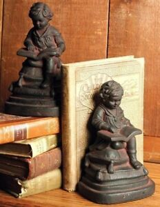 "Young Reader Victorian Child Bookends Resin 7"" Felt Lined Bottom 25D"