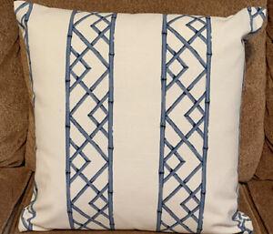 "Kravet Sarah Richardson Fabric Lattice Ultramarine Pillow Cover 20"" by 20"""