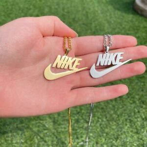 Nike Swoosh Pendant/Chain/Necklace (Silver) - Stainless Steel.