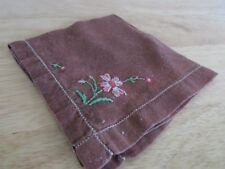 Handkerchief Hanky Vintage Brown appr 10-1/2 x 10-1/2 Hand Embroidered Flowers