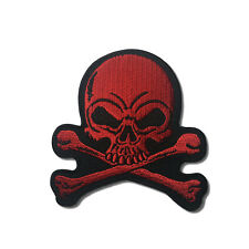 "Embroidered 3"" Skull Cross Bones Red Sew or Iron on Patch Biker Patch"