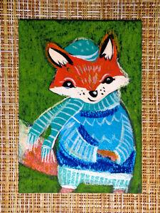 ACEO original pastel painting outsider folk art brut #010540 surreal funny fox