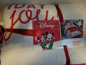 "Disney Mickey & Minnie Christmas Size Twin/Full Quilt 68""X86"" Sham 20""X26"" NEW"