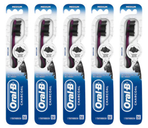5x ORAL-B CHARCOAL Whitening Toothbrushes Infused Bristles MEDIUM (Colors Vary)
