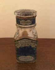"""Antique 1922 LT Piver of Paris Poudre A Sachets AZUREA 3.75"""" Glass Bottle Square"""
