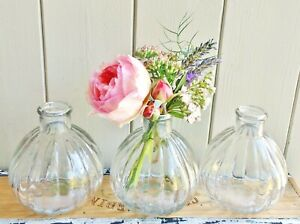 Set of 3 vintage shabby chic clear ribbed bud vases