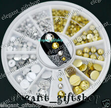 #ER27 Nail Art Tips Decoration Glitter Gold Silver Half Round Pearl 6 Sizes