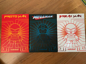"Kidrobot Megaman Set of 3 Megaman, Proto Man, Break Man 7"" Vinyl New"