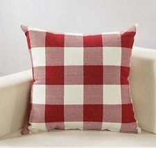 Red White Retro Checker Throw Pillow Cover Christmas Cushion Case Linen 18x18 in
