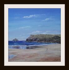 Polzeath Beach Cornwall: pintura al óleo originales por Robin Beckett Grande 40cm X 40cm