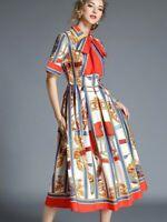 Red Gold White Blue Runway Designer Inspired Chain Summer Cocktail  Dress  12