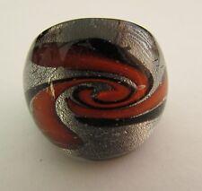 Glass Ring. Uk-Q. Us-8. (12!) A Silver/Black & Orange Murano Style