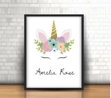 A4 Personalised Unicorn Print ANY Name Gift Pretty Pink Unicorn NO FRAME