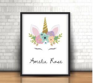 A4 Personalised Unicorn Print ANY Name Gift Pretty Pink Unicorn NO FRAME