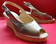 NEW Stunning ELLIE.D Wedge Gold Leather Sling Back SHOES  Size 5  38