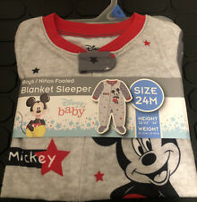 Disney Baby Boys 24m Blanket Sleeper Footed Mickey Mouse New
