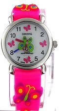 Geneva 3D Colorful Butterfly Pink Rubber Band Kids Watch WA506