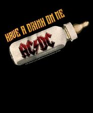 AC/DC cd lgo HAVE A DRINK ON ME Official ONE PIECE SHIRT 12 Months back in black