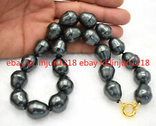 """HUGE AAA++ LARGE FASHION 20MM SOUTH SEA BLACK BAROQUE SHELL PEARL NECKLACE 18"""""""