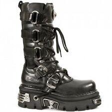 New-Rock-Metallic-Black-Gothic-Punk-Unisex-Boots-M-474 / S1 UK 9 EUR 43