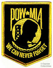 POW-MIA EMBROIDERED PATCH iron-on VIETNAM WAR GOLD BLACK MILITARY PRISONER