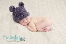 Fluffy Mohair Purple crochet bear Beanie hat. Photo photography prop. Newborn.