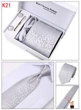 Mens Tie Set Dress Silk Tie Cufflinks Hanky Tie Clip Gift Box Silver Floral 4pcs
