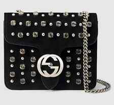 Gucci Interlocking Studded &Crystal Stones Suede Shoulder Bag Black, MSRP $2,200