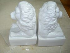 Decorative Pair of Glossy White Ceramic Lion Head Bookends