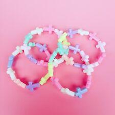Pastel Hada KEI plástico CRUZ Brazalete De Cuentas Kawaii Japonés Harajuku Moda