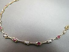 "14k Yellow Gold Diamond Ruby Bracelet 5.46 Grams 7"" Long Marquise Tennis Style"