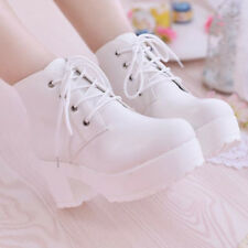 Chic Japanese cosplay shoes womens punk lace-up ankle boots chunky heel shoes sz