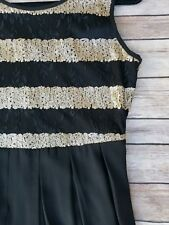 Black Gold Sequin Dress Medium Chiffon pleated zipper back closure NYE New Years