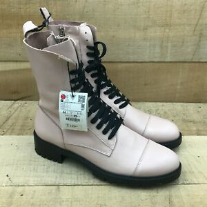 Zara Womens Pink Leather Combat Boots Ankle Block Heel Lace Up Round Toe Size 9